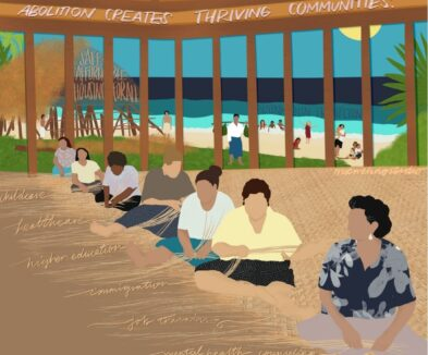 """Background is a beach shoreline with Pacific Islanders playing on the sand and a hut in the upper left corner with a thatched roof that says """"SAFE AFFORDABLE HOUSING FOR ALL."""" In the foreground is a group of Pacific Islander women sitting in a line weaving a mat made of pandanus leaves. The threads of the mat spell out """"childcare, healthcare, higher education, immigration, job training, mental health counseling, and substance abuse treatment."""" Above the women is white text that reads """"ABOLITION CREATES THRIVING COMMUNITIES"""""""